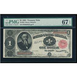 1891 $1 Treasury Note PMG 67EPQ