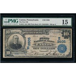 1902 $10 Canton National Bank Note PMG 15