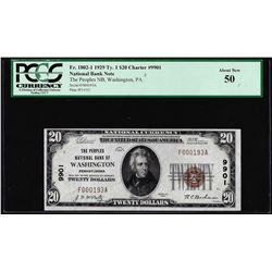 1929 $20 NB of Washington, PA CH# 9901 National Currency Note PCGS About New 50