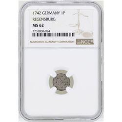 1742 Germany Pfennig Regensburg Coin NGC MS62