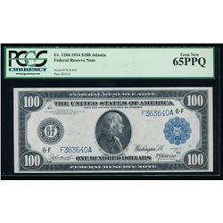 1914 $100 Atlanta Federal Reserve Note PCGS 65PPQ