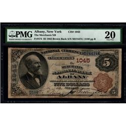 1882 $5 Albany National Bank Note PMG 20