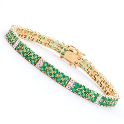 Plated 18KT Yellow Gold 7.00ctw Green Agate and Diamond Bracelet