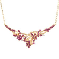 Plated 18KT Yellow Gold 3.25ctw Ruby and Diamond Pendant with Chain