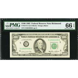1985 $100 Richmond Federal Reserve Note PMG 66EPQ