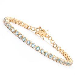 Plated 18KT Yellow Gold 4.10ctw Blue Topaz Bracelet