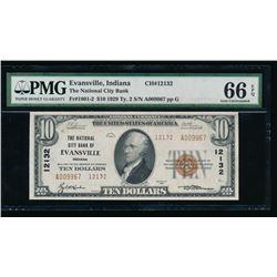 1929 $10 Evansville National Bank Note PMG 66EPQ