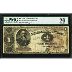 1890 $1 Treasury Note PMG 20