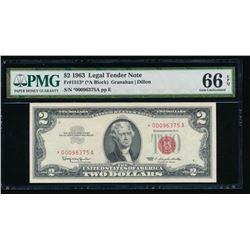 1963 $2 Legal Tender STAR Note PMG 66EPQ