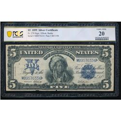 1899 $5 Chief Silver Certificate PCGS 20