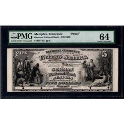 Original Series $5 The German National Bank Memphis Proof Note PMG 64