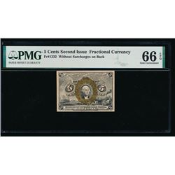 5 Cent Second Issue Fractional Note PMG 66EPQ
