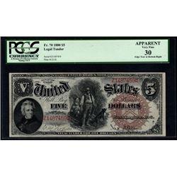 1880 $5 Woodchopper Legal Tender Note PCGS 30