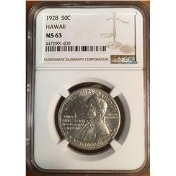 1928 Hawaii Half Dollar Coin NGC MS63