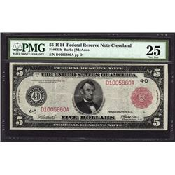 1914 $5 Red Seal Cleveland Federal Reserve Note PMG 25