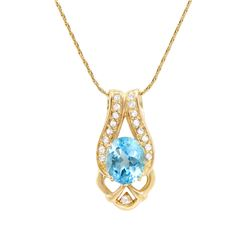 Plated 18KT Yellow Gold 6.00ctw Blue and White Topaz Pendant with Chain