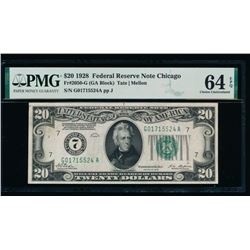 1928 $20 Chicago Federal Reserve Note PMG 64EPQ