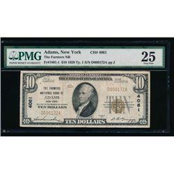 1929 $10 Adams National Bank Note PMG 25