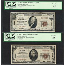 1929 $10/20 Citizens NB Washington, PA CH# 3383 National Currency Notes PCGS VF25