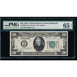 1928 $20 Richmond Federal Reserve Note PMG 65EPQ