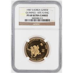 1987 S. Korea $100 Proof Olympics Commemorative Gold Coin NGC PF68 Ultra Cameo