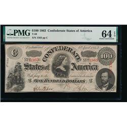 1863 $100 Confederate States of America Note PMG 64EPQ