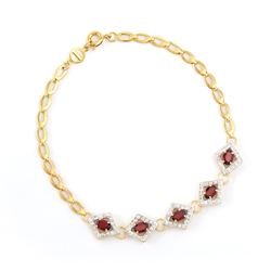 Plated 18KT Yellow Gold 2.25ctw Garnet and Diamond Bracelet
