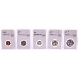1958 (5) Coin Proof Set Graded NGC PF65/66/67