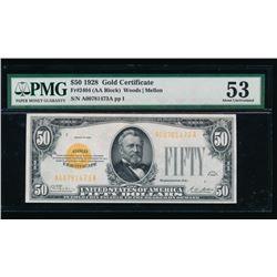 1928 $50 Gold Certificate PMG 53
