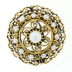 Vintage 14kt Yellow Gold Tiered Pearl, Open Work, & Twisted Wire Brooch or Penda