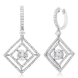 18k White Gold 1.66CTW Diamond Earrings, (VS2-SI1/SI1/H-J/H)