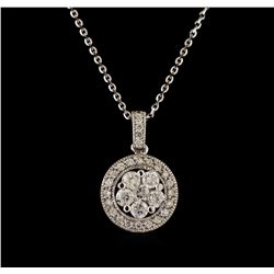 14KT White Gold 0.91 ctw Diamond Pendant With Chain