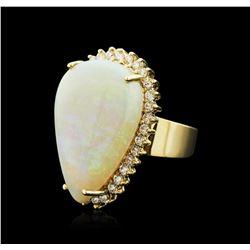 14KT Yellow Gold 18.10 ctw Opal and Diamond Ring
