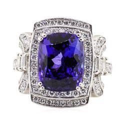 8.01 ctw Tanzanite and Diamond Ring - Platinum