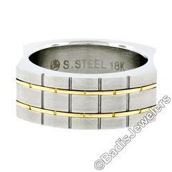 Men's Stainless Steel w/ 18kt Yellow Gold Brick Domed Matte Finish Band Ring