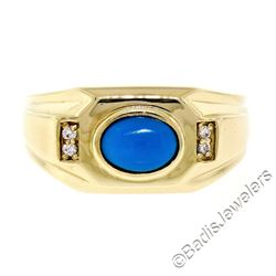 Men's 14kt Yellow Gold Oval Cabochon Turquoise Solitaire and Diamond Ring
