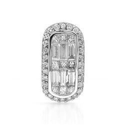 14k White Gold 0.81CTW Diamond Pendant, (SI1-SI2/G)