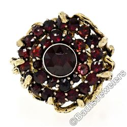 Vintage 14kt Yellow Gold and Silver Top Old Cut Garnet Cluster Ring
