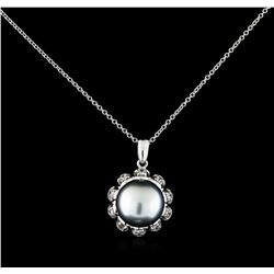 0.30 ctw Pearl and Diamond Pendant With Chain - 14KT White Gold