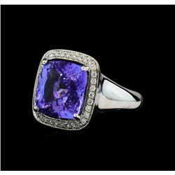 8.90 ctw Tanzanite and Diamond Ring - 14KT White Gold