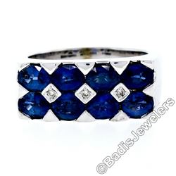 18kt White Gold 4.03 ctw Dual Row Oval Cut Sapphire & Diamond Band Ring