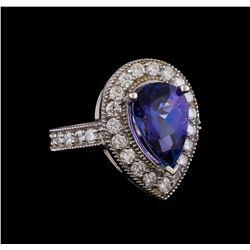 14KT White Gold 3.30 ctw Tanzanite and Diamond Ring