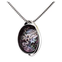 Black Mother of Pearl Cameo Pendant - 14KT White Gold