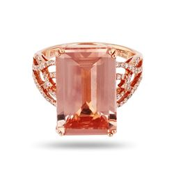 8.94 ctw Morganite and 0.35 ctw Diamond 14K Rose Gold Ring