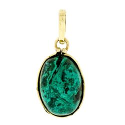 Vintage 14kt Yellow Gold Oval Cabochon Marbled Black & Blue Stone Charm Pendant