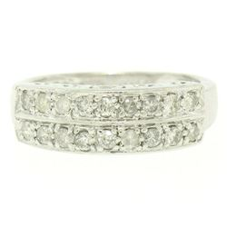 .950 Platinum 0.72 ctw Dual Row Round Diamond Band Ring w/ Open Gallery
