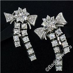 Vintage 18kt White Gold 2.45 ctw Round Diamond Bow Ribbon Dangle Earrings