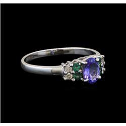 14KT White Gold 0.59 ctw Tanzanite, Emerald and Diamond Ring