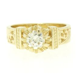14k Yellow Gold Open Work 0.43 ctw G VVS1 Round Brilliant Diamond Solitaire Ring