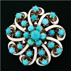 Antique 14kt Rose Gold Round Turquoise and White Enamel Swirl Flower Brooch